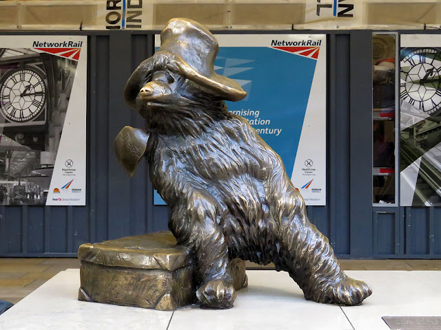 Statue of Paddington Bear by Marcus Cornish, Paddington railway station, London