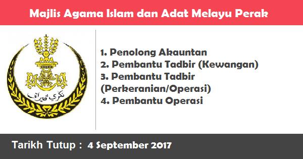 Jawatan Kosong di Majlis Agama Islam dan Adat Melayu Perak