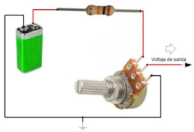 Conectar un potenciometro para variar voltaje. Diagrama esquematico