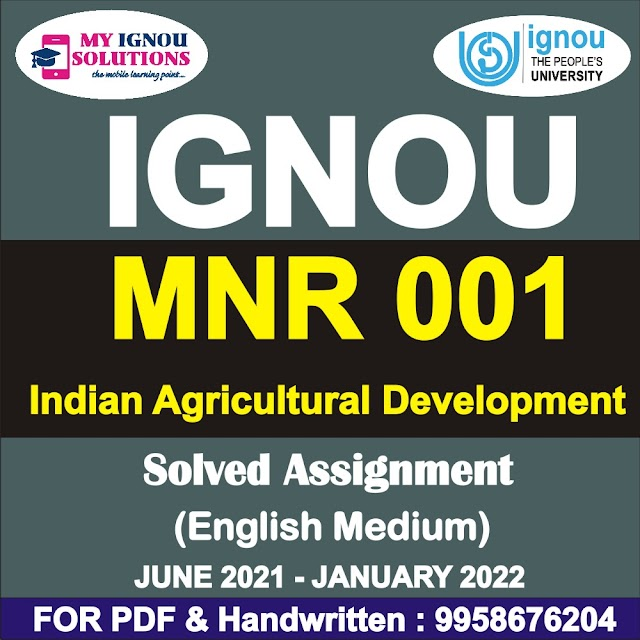MNR 001 Solved Assignment 2021-22