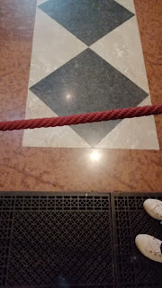 Tiles on the floor in house at Weston-super-Mare.