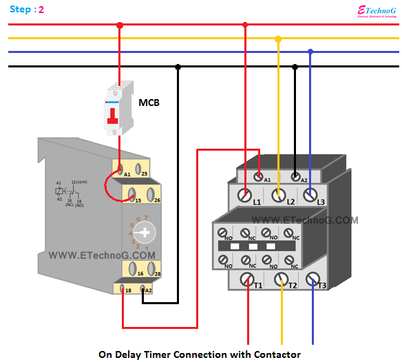 Timer connection with contactor, timer and contactor connection