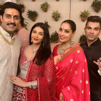 Abhishek Bachchan with his wifey Ashwariya Rai Bachchan and Bipasha Basu with her Hubby Karan Grover at diwali Bash