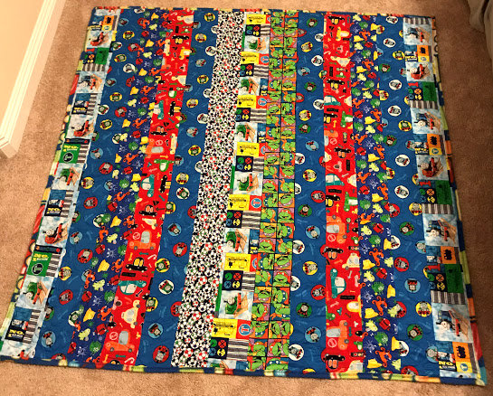 vertical strip quilt for boy