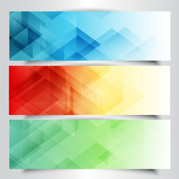 Collection of modern banners with in low poly design Free Vector