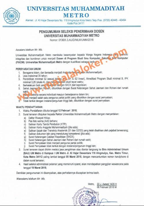 Lowongan Dosen Ilmu Komputer Universitas Muhammadiyah Metro (UMMETRO)
