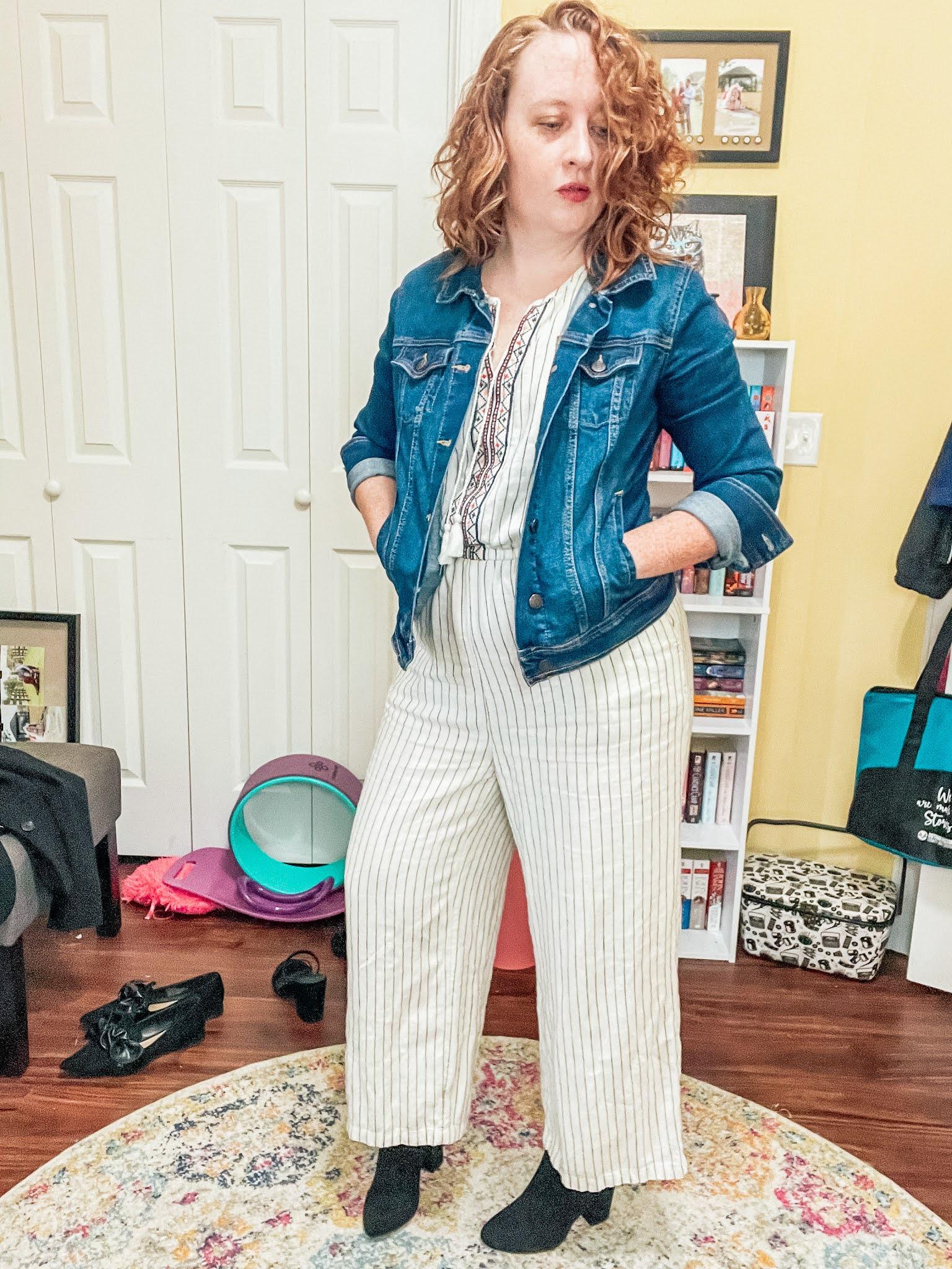 striped-jumpsuit-denim-jacket-boots
