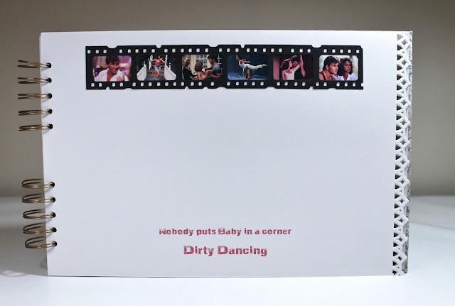 """Página dedicada a Dirty Dancing """"nobody puts Baby in a corner"""" realizada con el troquel Filmstrip de Tim Holtz. Scrapbook"""