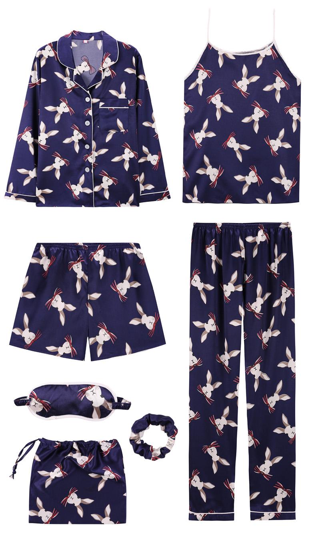 Bộ Pijama ngủ 7 chi tiết bằng lụa mặc nhà dễ thương 9