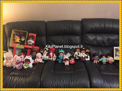 la Monchhichi Designer's softy sitting Twin pig tail (M), sekiguchi, kiki, kiki le vrai, jouet, vintage
