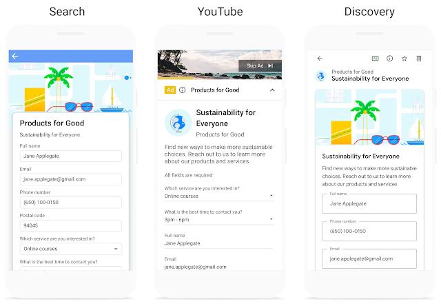 Google Ads étend les extensions de formulaire de contact
