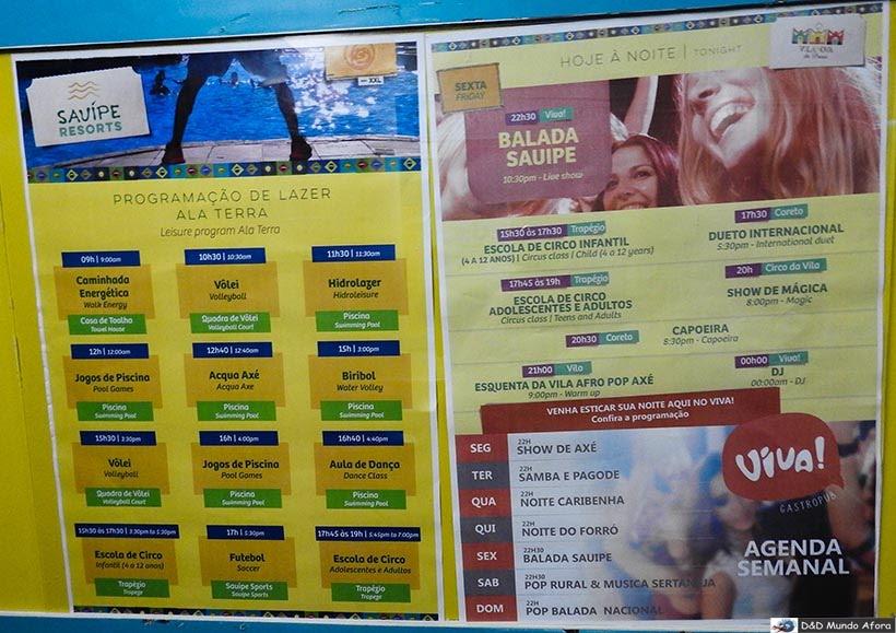 Programação de atividades do Costa do Sauípe - resort all inclusive na Bahia