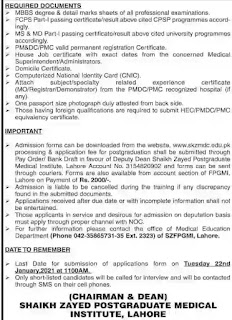 Sheikh Zayed Postgraduate Medical Institute, Lahore Admissions