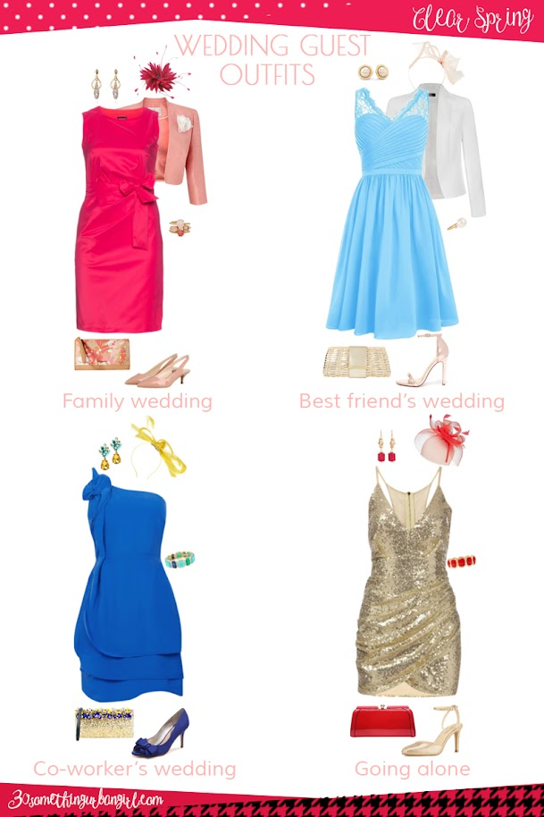 Wedding guest outfit ideas for Clear Spring women by 30somethingurbangirl.com // Are you invited to a family, your best friend's or your co-worker's wedding, maybe going solo to a nuptials? Find pretty outfit ideas and look fabulous!