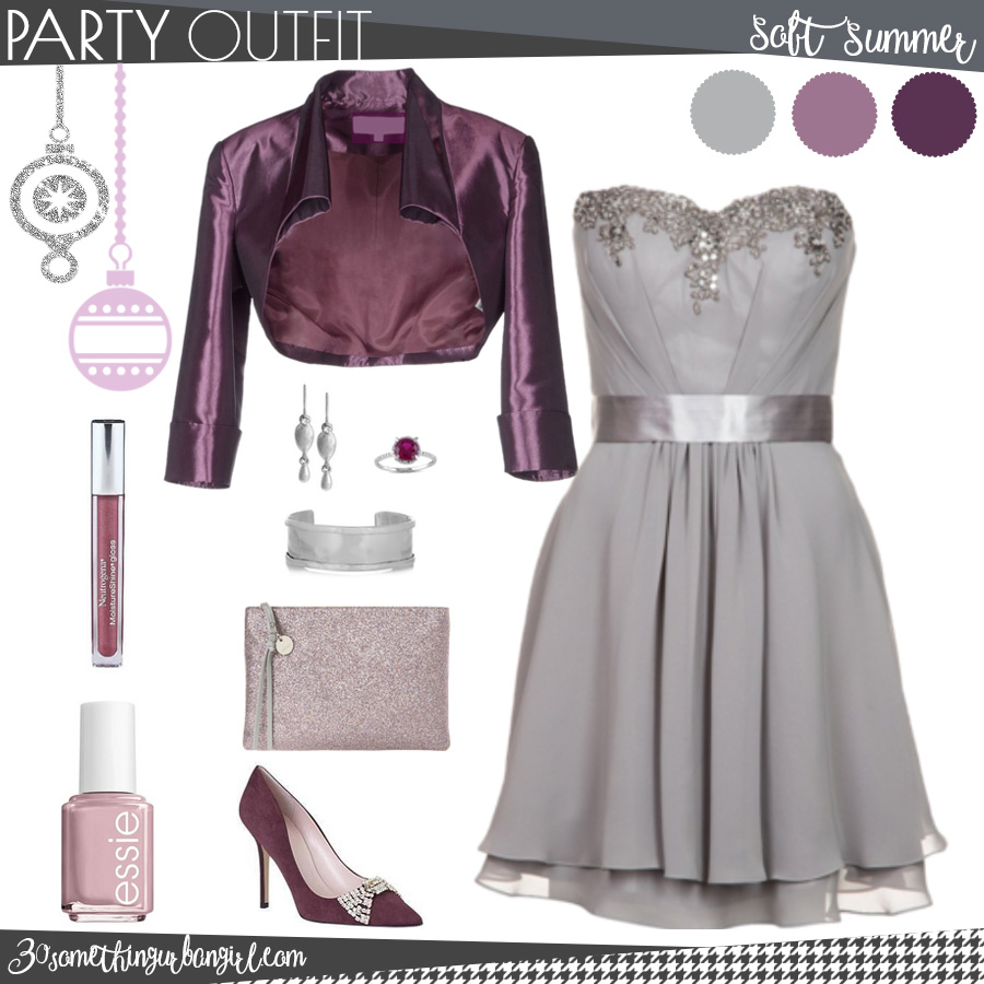 Pretty holiday party outfit for Soft Summer seasonal color women