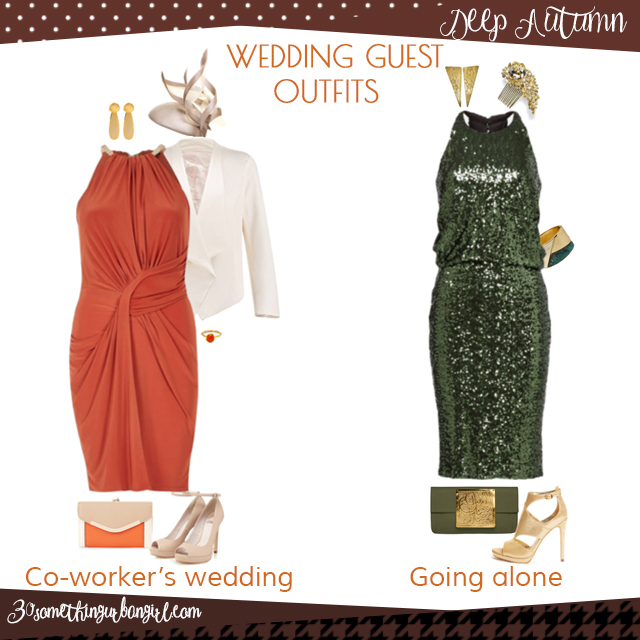Wedding guest outfit ideas for Deep Autumn women by 30somethingurbangirl.com // Are you invited to a your co-worker's wedding or maybe going solo to a nuptials? Find pretty outfit ideas and look glamorous!