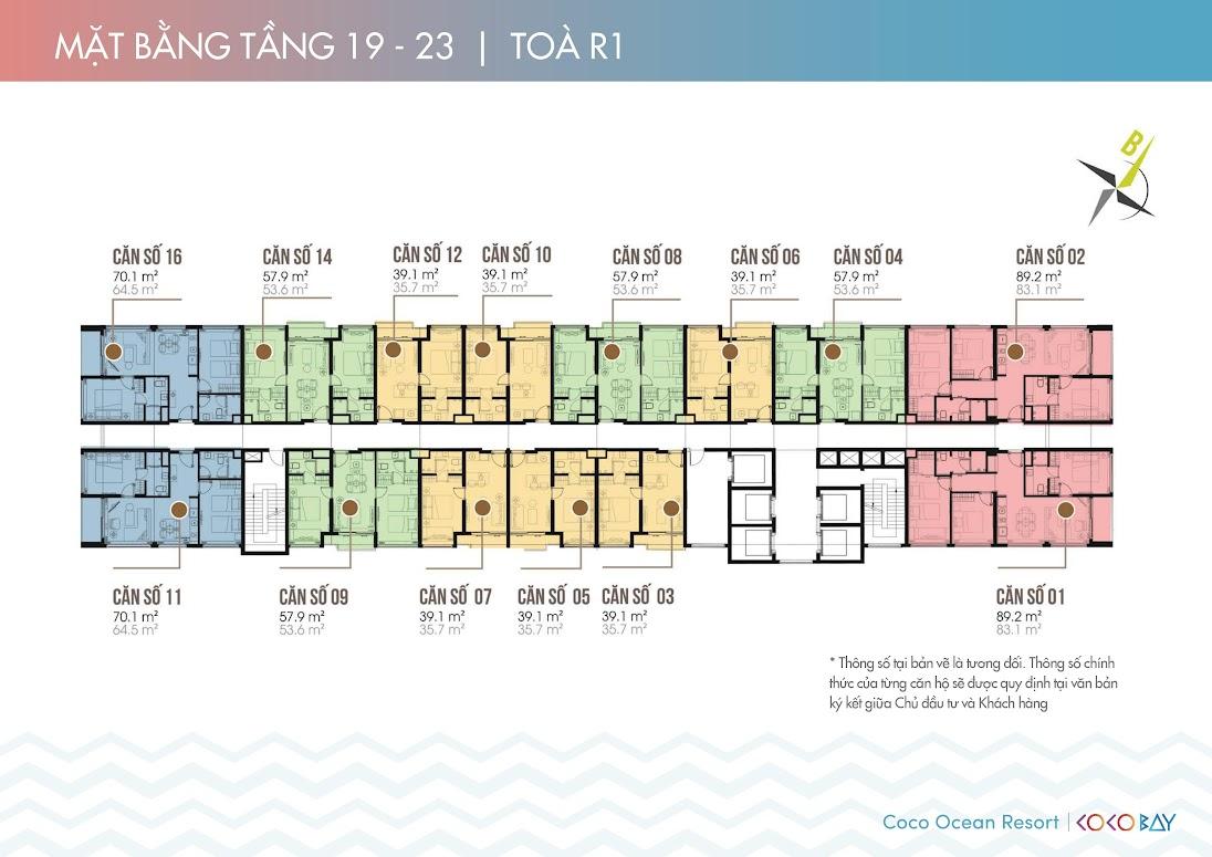Mặt bằng căn hộ Cocobay Ocean Resort tầng 19-23 tòa R1