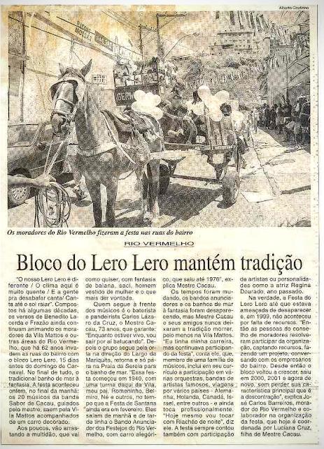 Bloco Lero Lero mantém tradição - Correio da Bahia - 28/01/2002