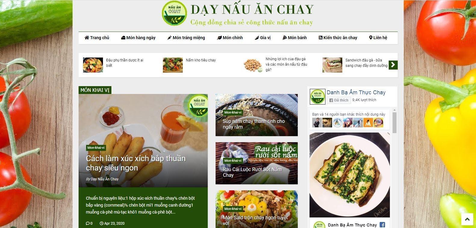Tặng giao diện Website Blogger (Dạy Nấu Ăn Chay) - tạp chí, tin tức (Template Blogger)