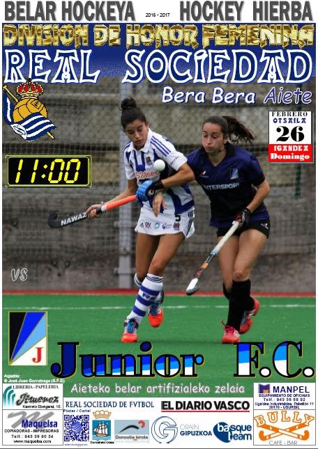Cartel hockey 2017-02-26 Real Sociedad - Junior C.F.