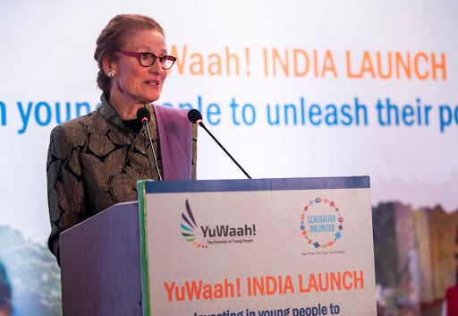 Ms. Henrietta H Fore, ED, UNICEF addressing the gathering at the launch of Yuwaah