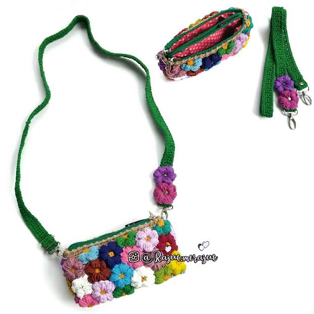 crochet, crochet puff flower, crochet bag, tas rajut, tas rajut remaja, tas rajut bunga, tas rajut kekinian, tas rajut lucu, tas rajut anak, tas rajut 2 ritsleting, crochet puff flower bag, tas rajut lucu