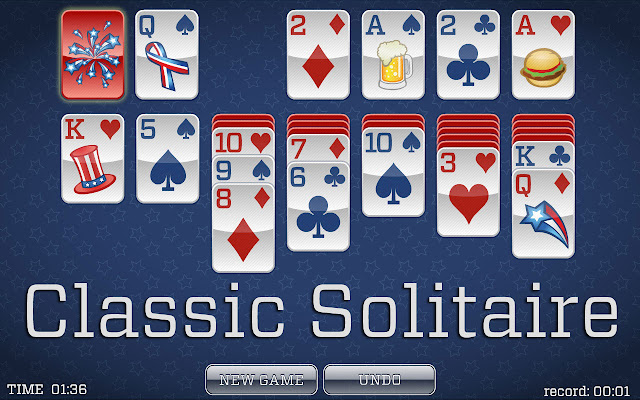 A snapshot of the electronic game 4th of July #Solitaire! #July4th #IndependanceDay
