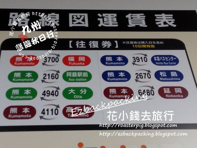 熊本出發去九州各地的來回票價格