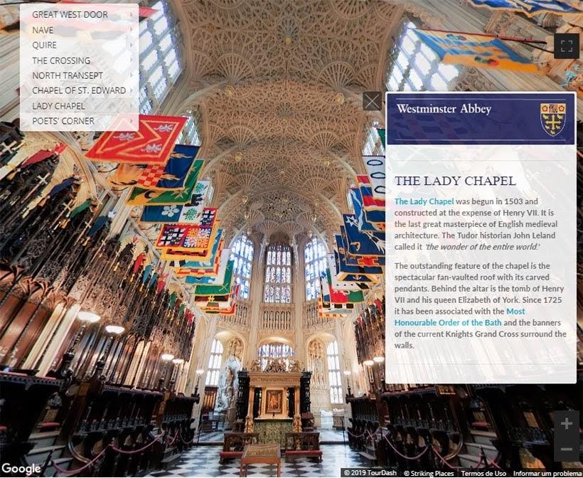 The Lady Chapel na Abadia de Westminster. Foto: reprodução do tour virtual no site da Abadia