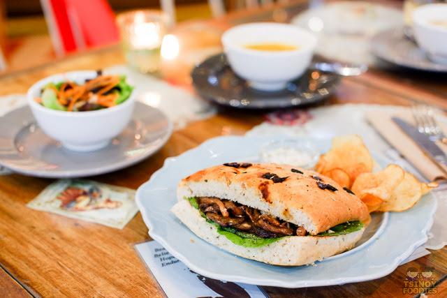 Vegetables on Focacia Sandwich
