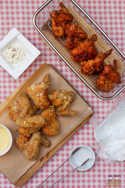 Garlic Parmesan Fried Chicken Wings and Honey Soy Fried Chicken Wings