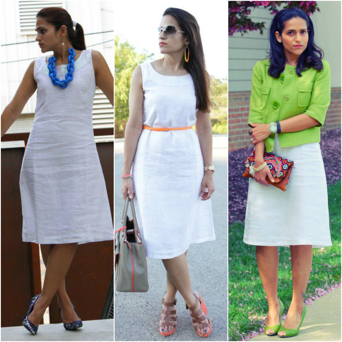 Three Ways To Style A White Linen Dress, Tanvii.com
