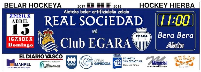 Anuncio del partido Real Sociedad - Club EGARA, en Pág. 71 de El Diario Vasco del sábado 14.