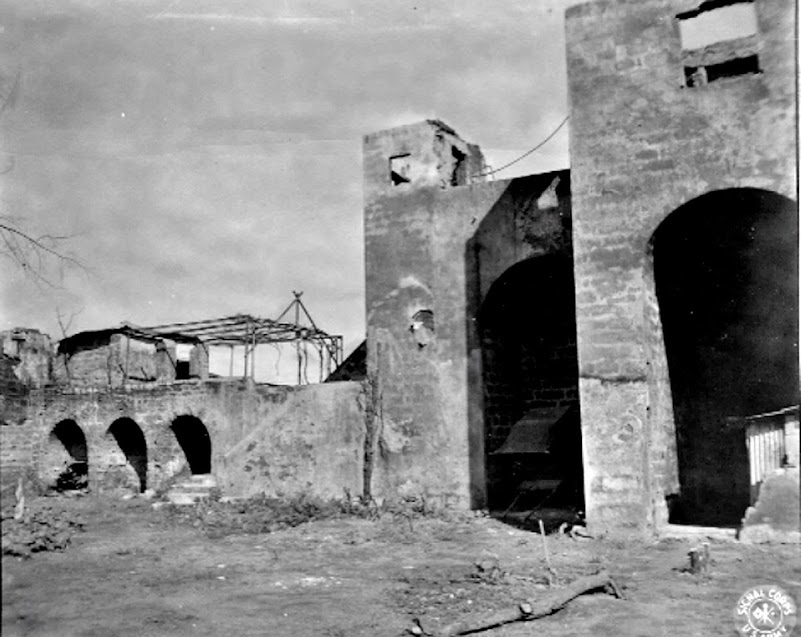 Original caption:  Photograph of destroyed Japanese garrison at Lipa, Batangas.  Photo taken by Pfc. Robert Wilson on 5 October 19845.