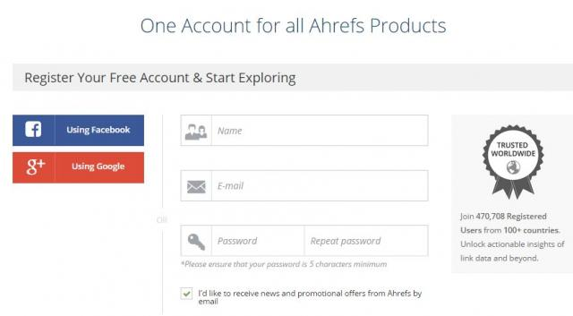 Creating an account on Ahrefs for free