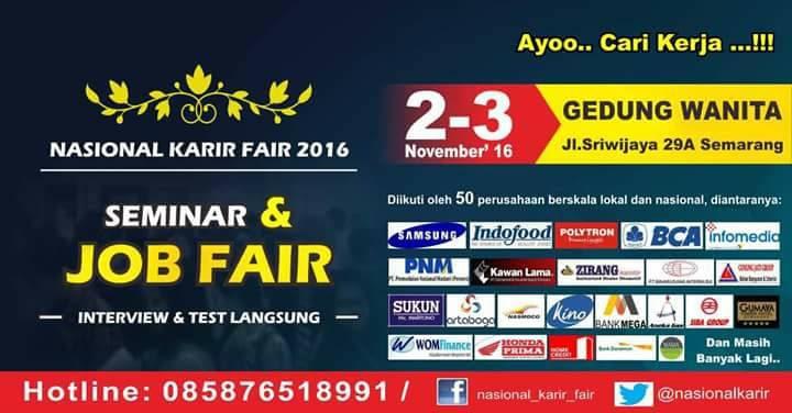 JOB FAIR NASIONAL KARIR FAIR 2-3 NOVEMBER 2016