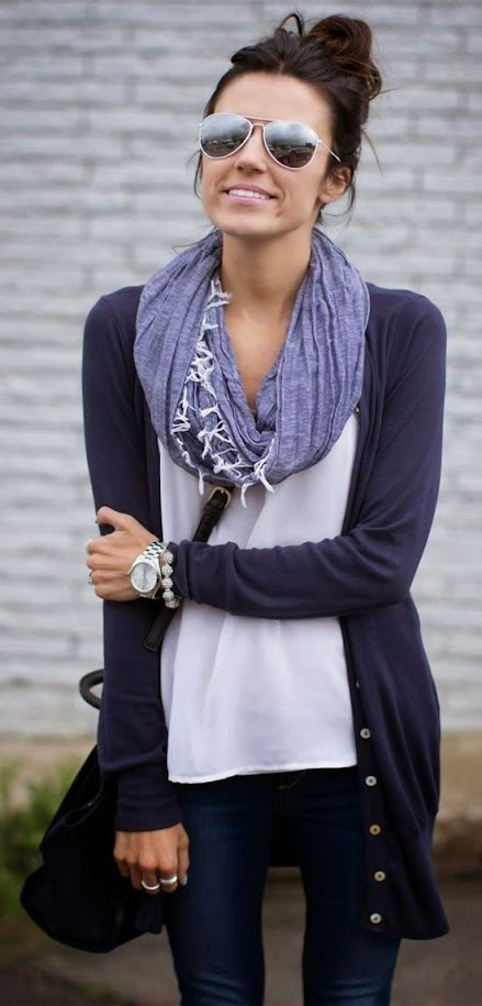 Casual look with navy cardigan, violet blue scarf and jeans for Cool Winter women