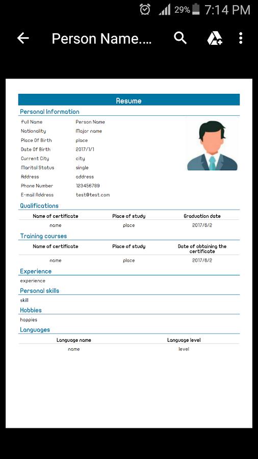 CV Editor (Resume)