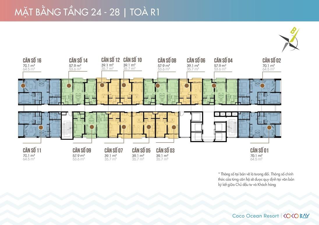 Mặt bằng căn hộ Cocobay Ocean Resort tầng 24-28 tòa R1