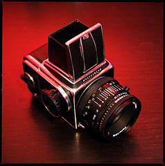 Hasselblad on red background