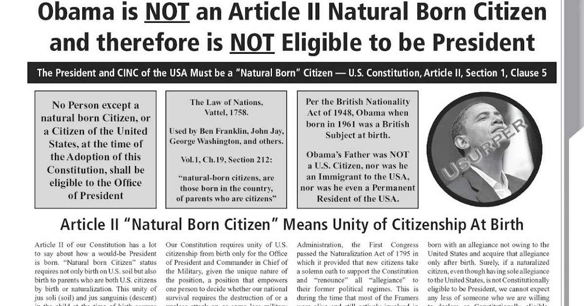 Only Natural Born Citizens Can Be President