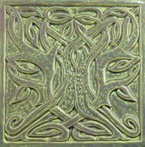 decorative handmade ceramic tile tree worship celtic tree tile