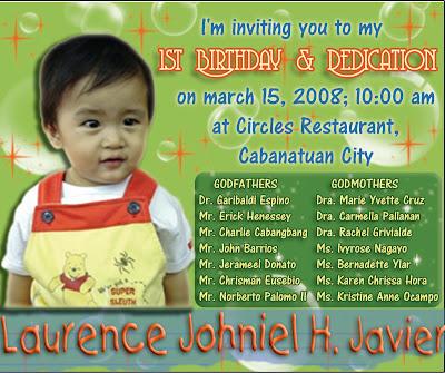 Birthday & Dedication Invitation Laurence Johniel H. Javier