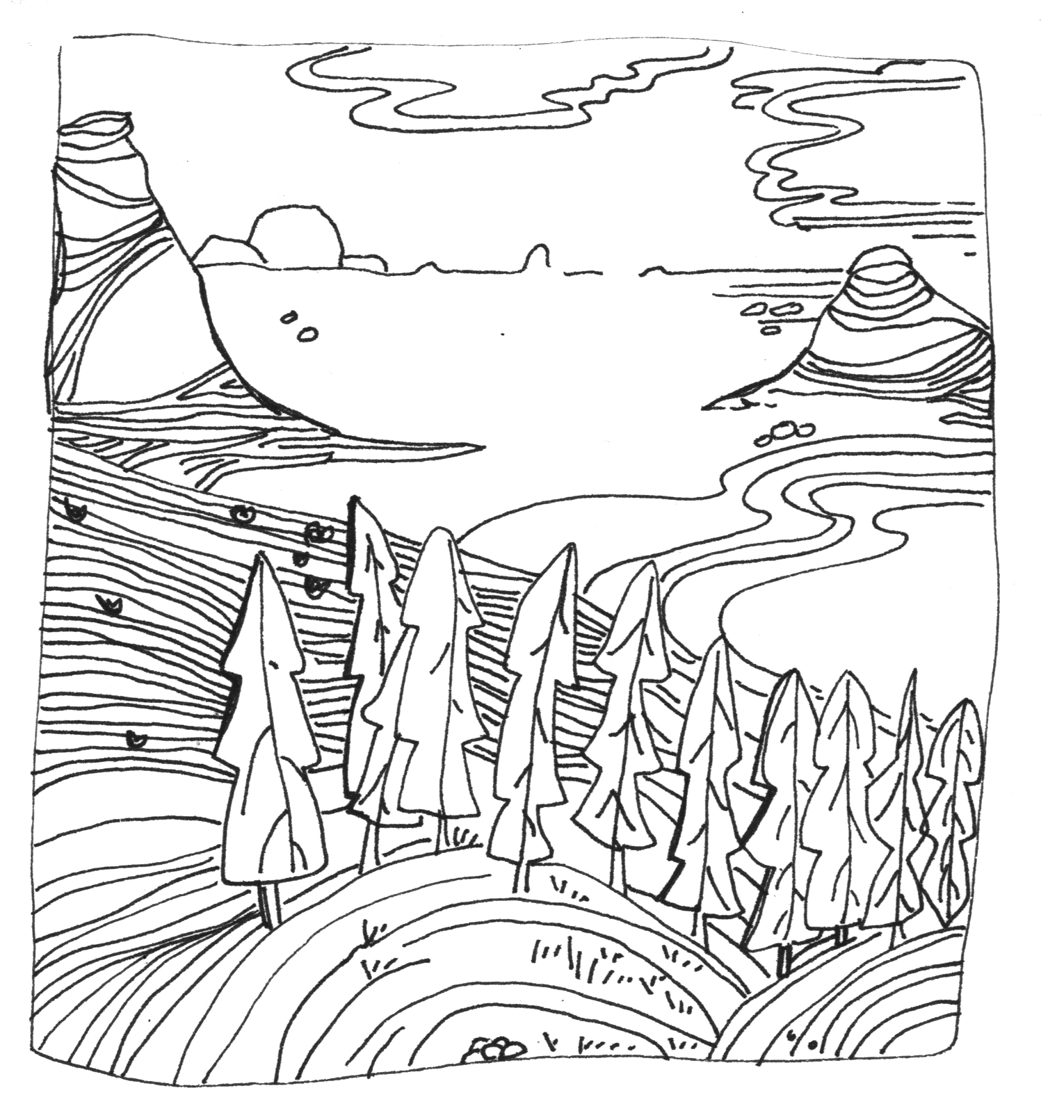 Line Drawings Of Landscapes Gallery