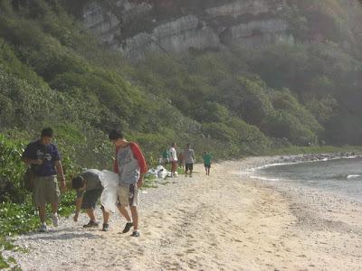 Cleaning Bird Island Beach