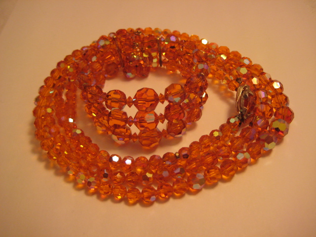Rare Orange Sherman Crystal Set