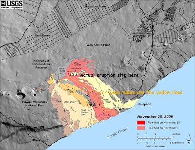 Hawaii Map Lava.Hawaiian Lava Daily Maps Photo Showing Lava Tubes Inflation Back