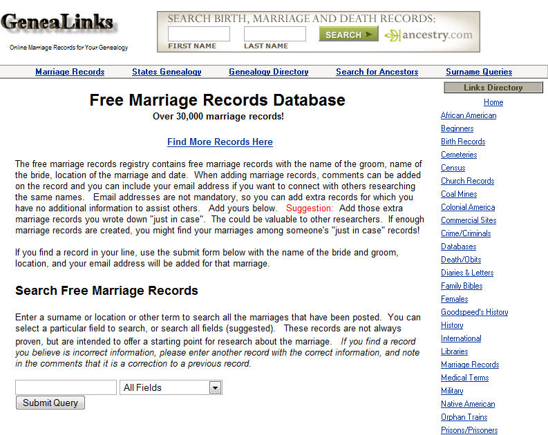 Our Future Rooted in Our Past: Free Marriage Record Database?