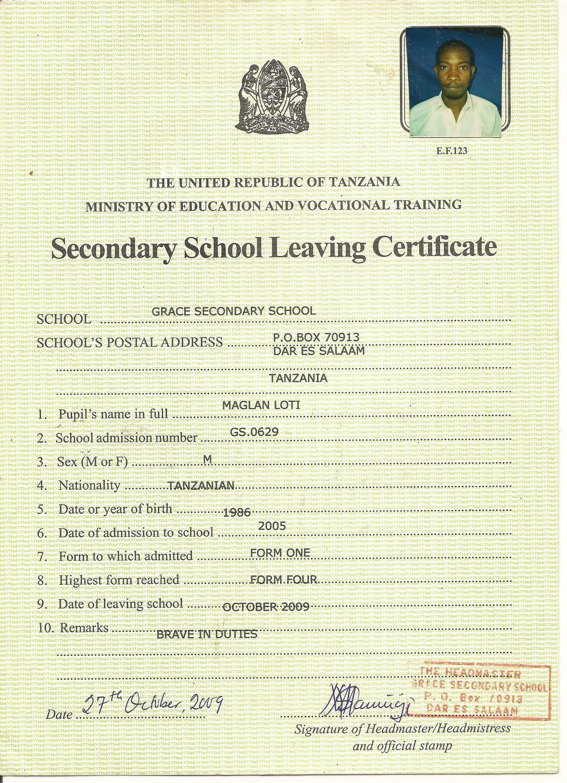 Write a letter for school leaving certificate