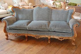 Faded Blue Velvet French Style Sofa